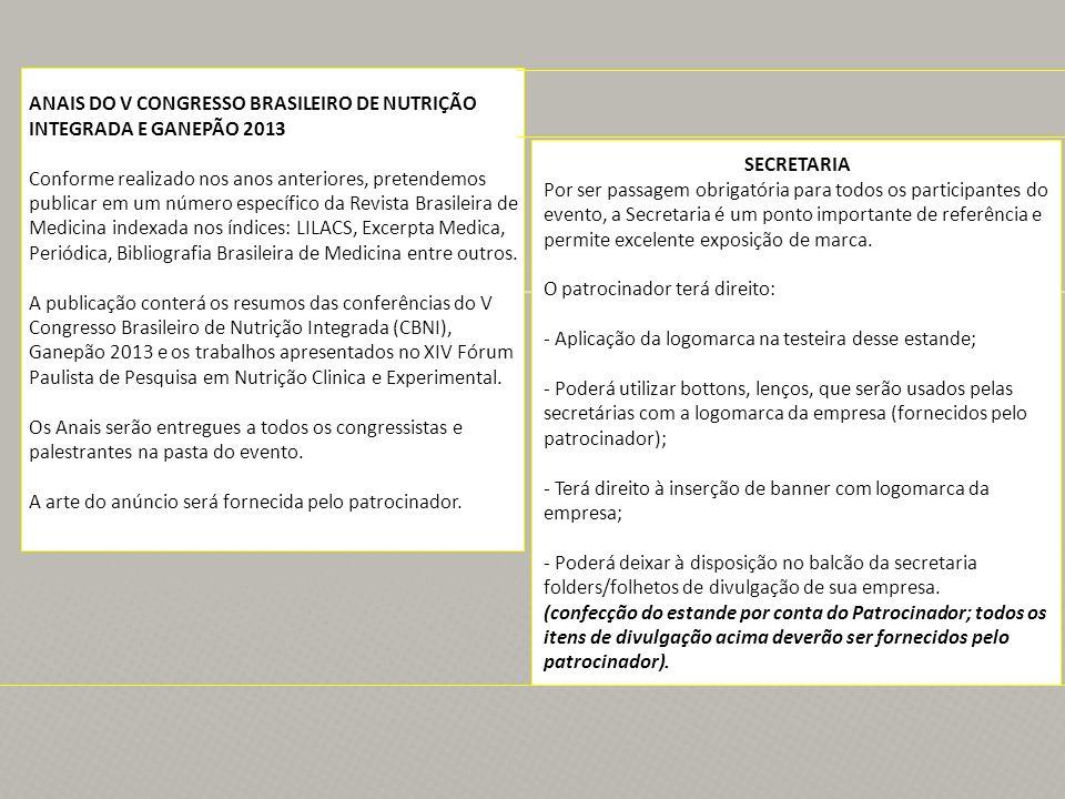 ANAIS DO V CONGRESSO BRASILEIRO DE NUTRIÇÃO INTEGRADA E GANEPÃO 2013