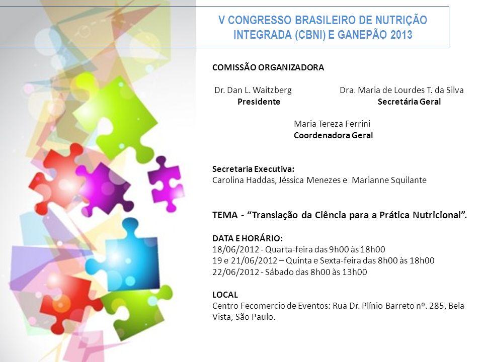 V CONGRESSO BRASILEIRO DE NUTRIÇÃO INTEGRADA (CBNI) E GANEPÃO 2013