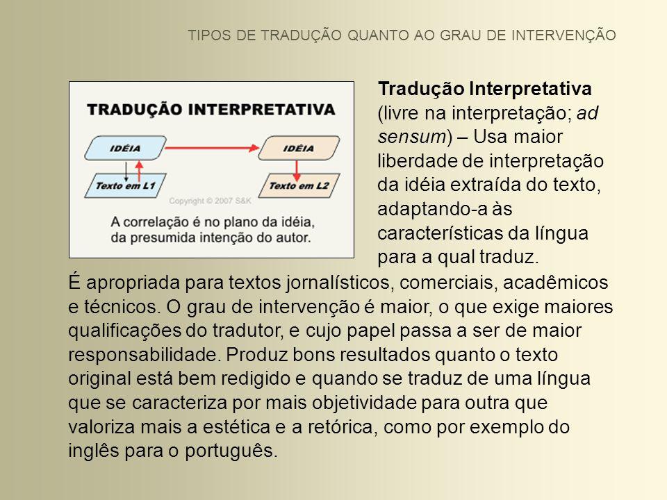 TIPOS DE TRADUÇÃO QUANTO AO GRAU DE INTERVENÇÃO