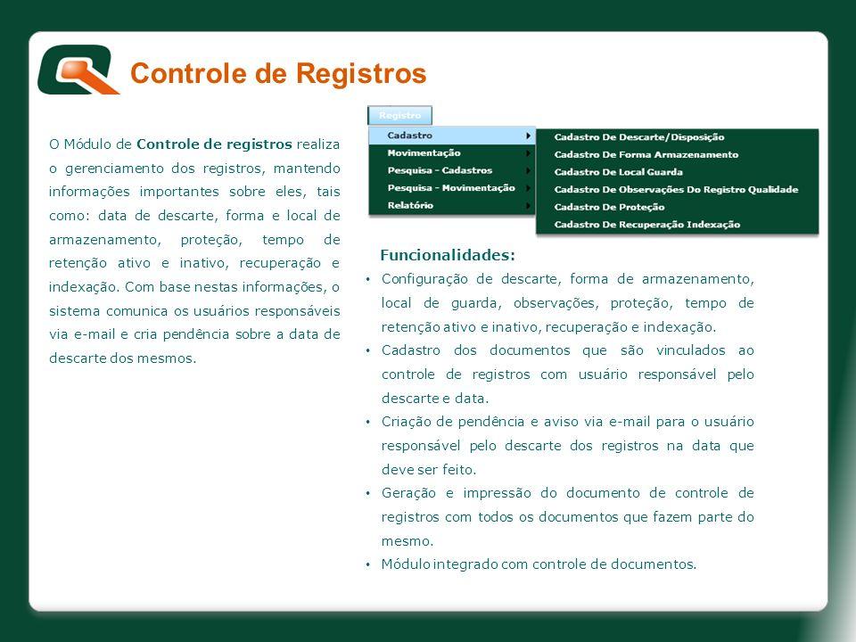 Controle de Registros Funcionalidades: