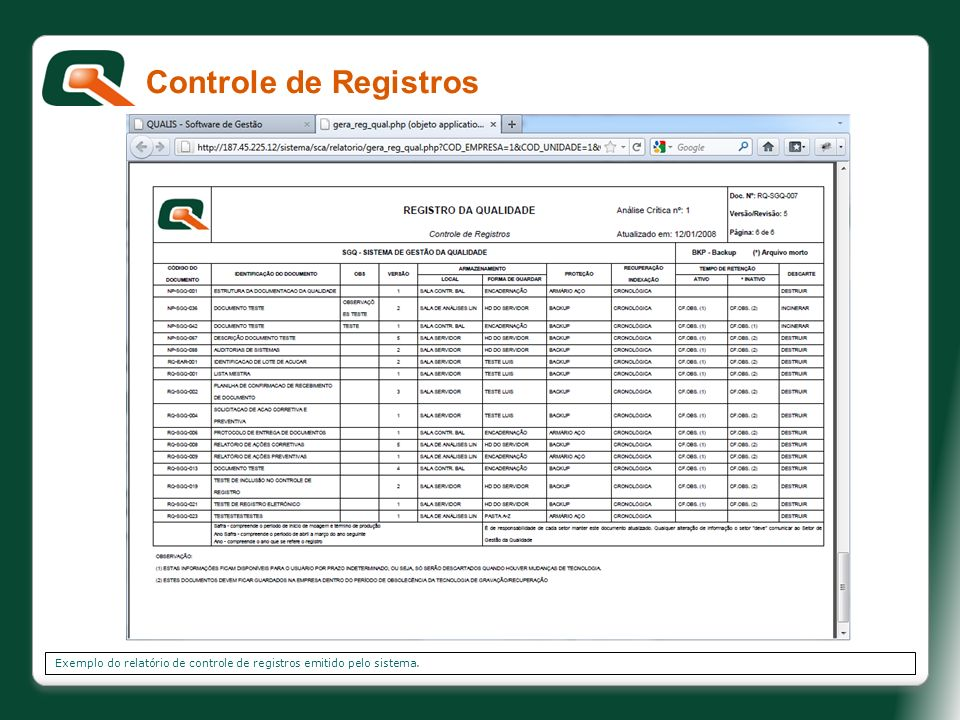 Controle de Registros Exemplo do relatório de controle de registros emitido pelo sistema.