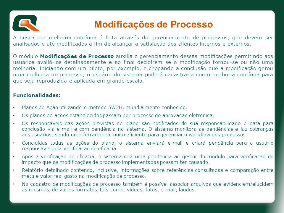 Modificações de Processo