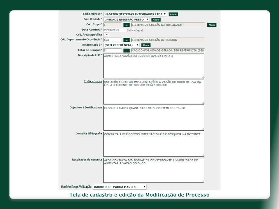 Tela de cadastro e edição da Modificação de Processo
