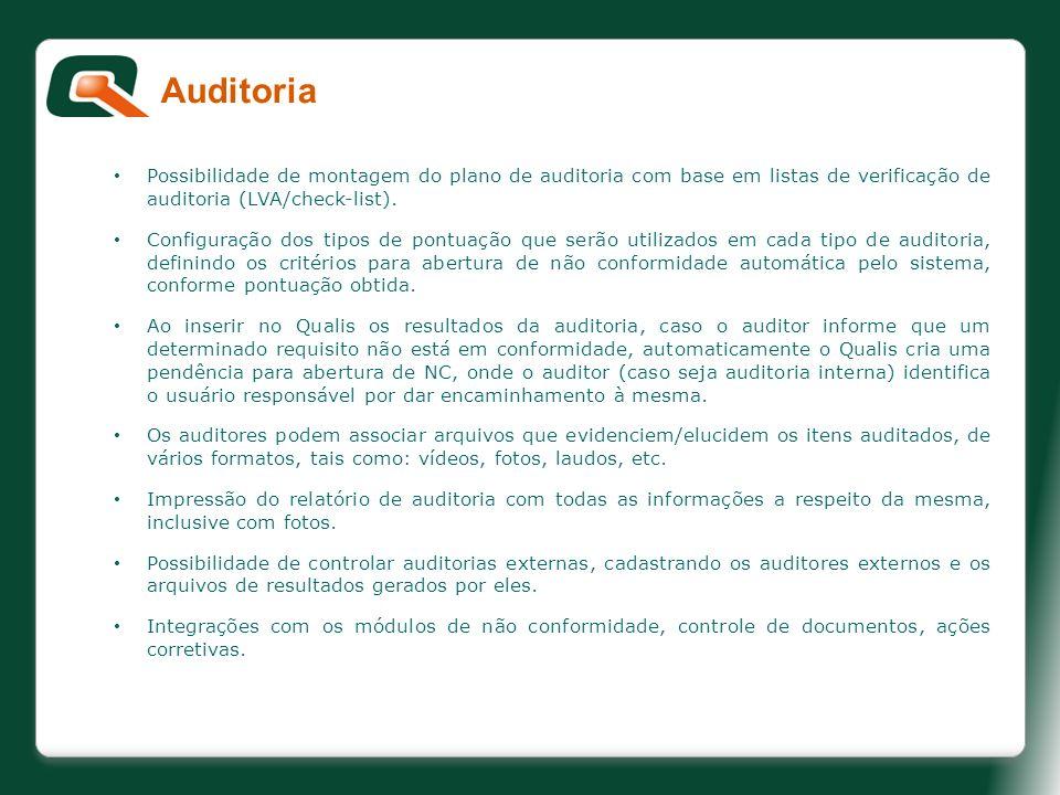 Auditoria Possibilidade de montagem do plano de auditoria com base em listas de verificação de auditoria (LVA/check-list).