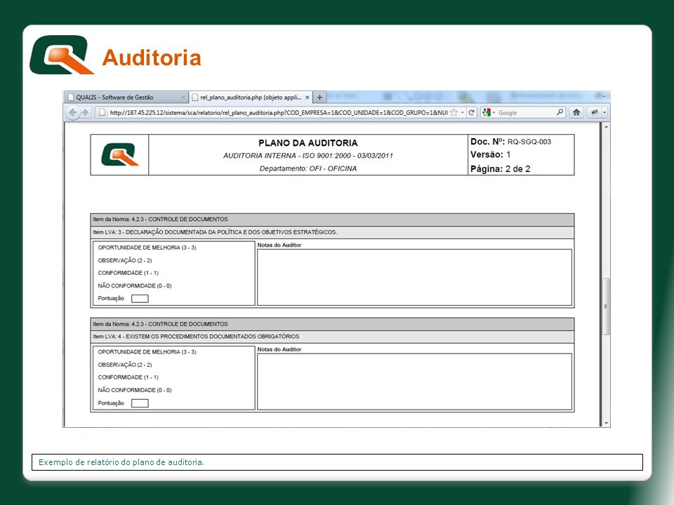 Auditoria Exemplo de relatório do plano de auditoria.