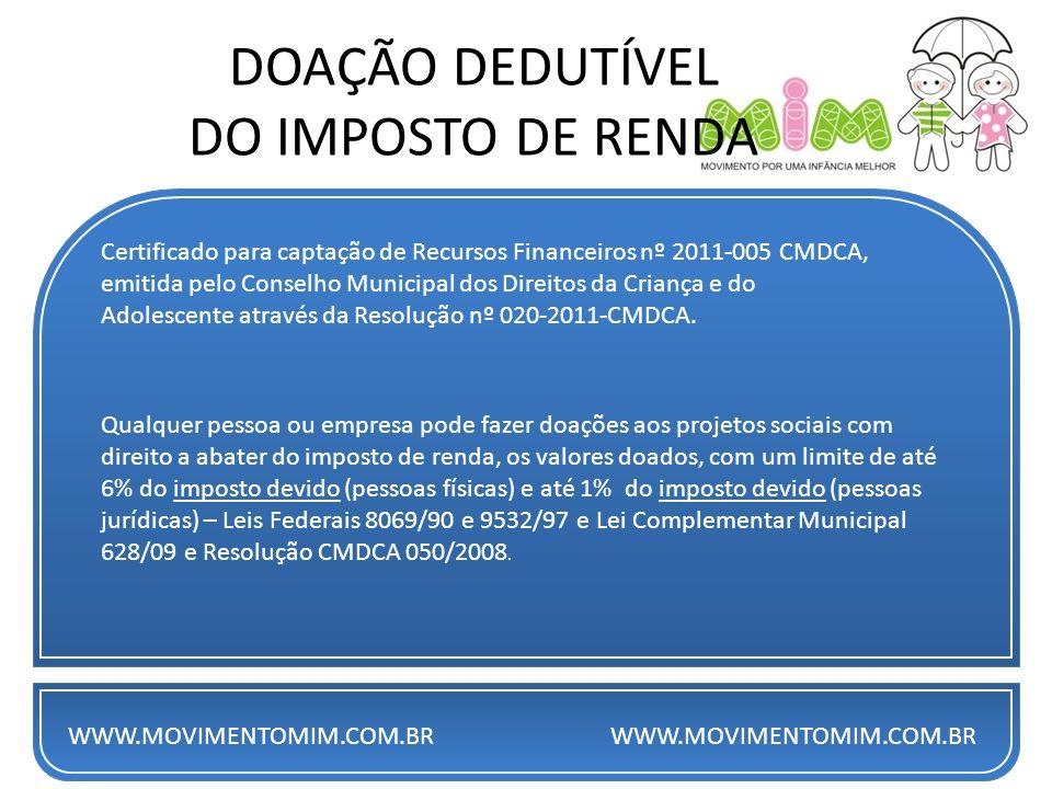 DOAÇÃO DEDUTÍVEL DO IMPOSTO DE RENDA