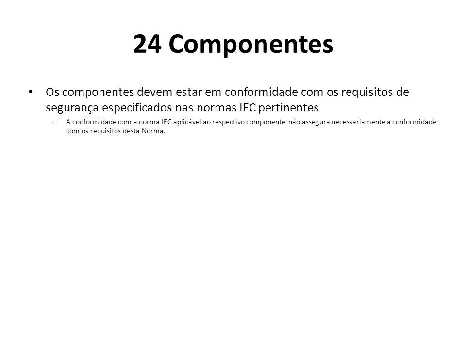 24 Componentes Os componentes devem estar em conformidade com os requisitos de segurança especificados nas normas IEC pertinentes.