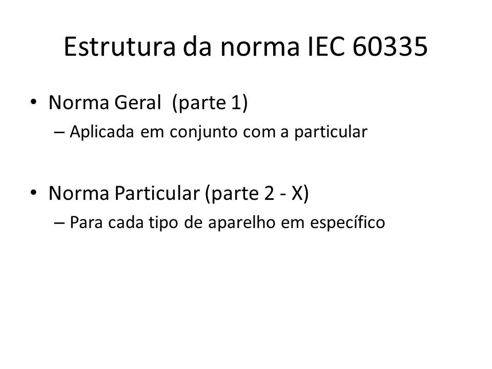 Estrutura da norma IEC 60335 Norma Geral (parte 1)