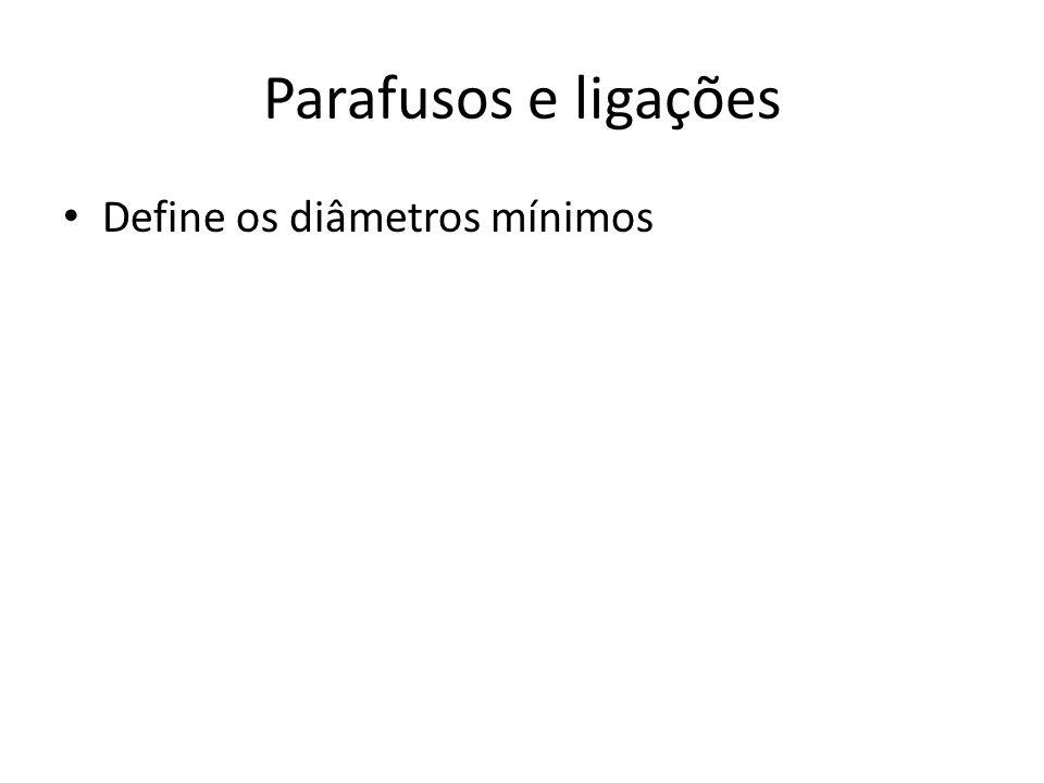 Parafusos e ligações Define os diâmetros mínimos