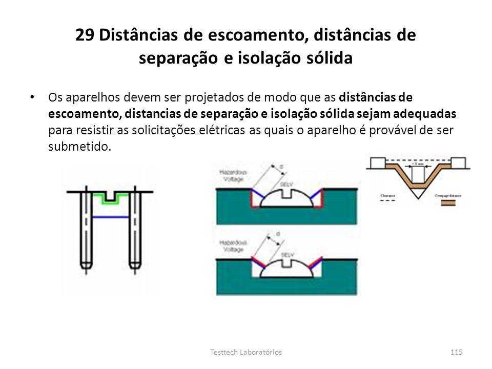 29 Distâncias de escoamento, distâncias de separação e isolação sólida