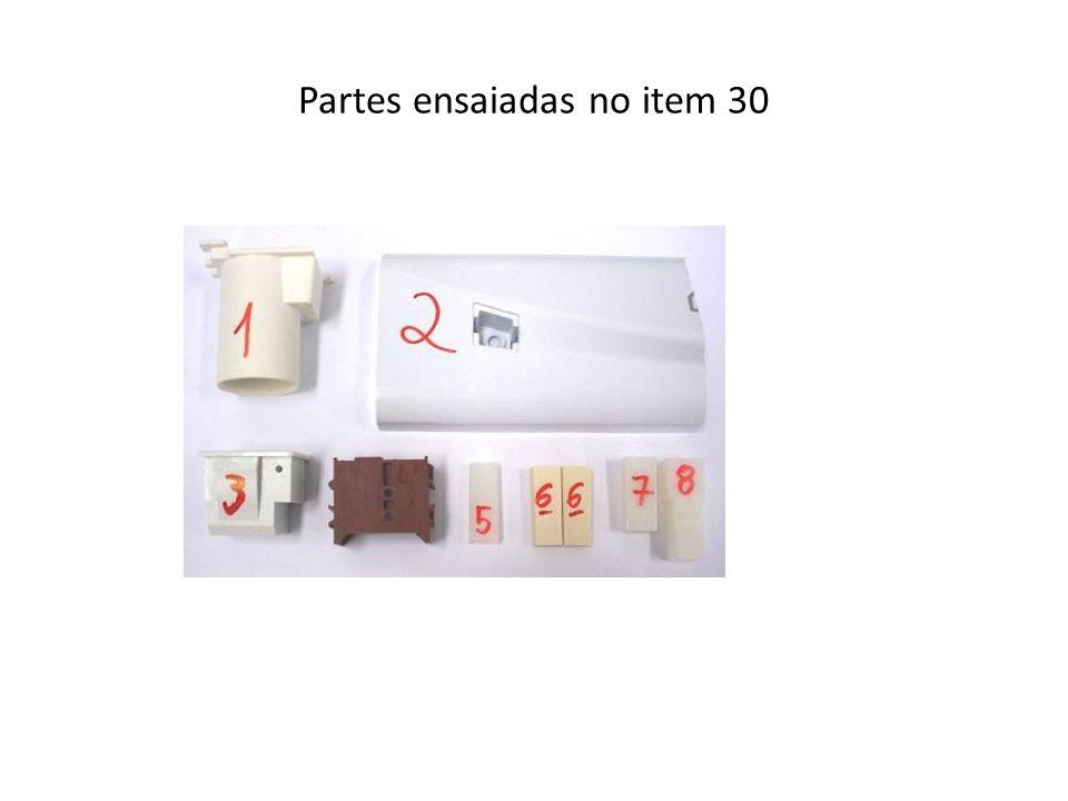Partes ensaiadas no item 30