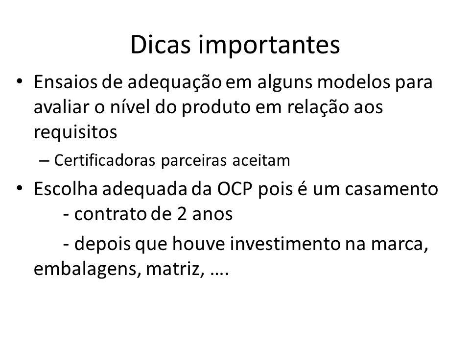 Dicas importantes Ensaios de adequação em alguns modelos para avaliar o nível do produto em relação aos requisitos.