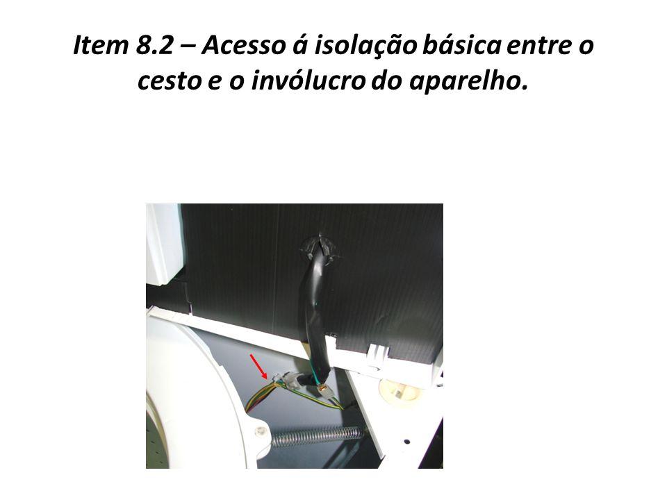Item 8.2 – Acesso á isolação básica entre o cesto e o invólucro do aparelho.