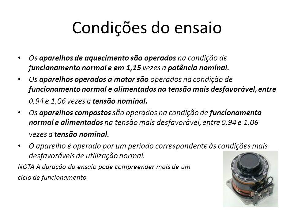 Condições do ensaio Os aparelhos de aquecimento são operados na condição de funcionamento normal e em 1,15 vezes a potência nominal.