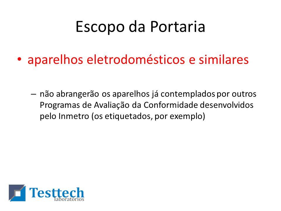 Escopo da Portaria aparelhos eletrodomésticos e similares