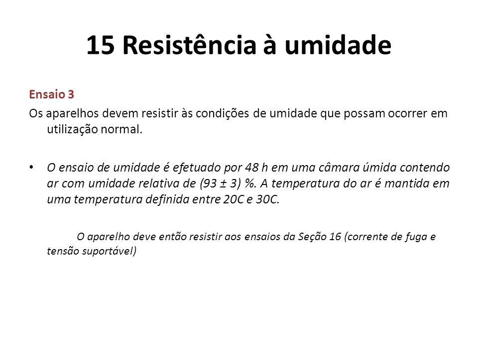 15 Resistência à umidade Ensaio 3
