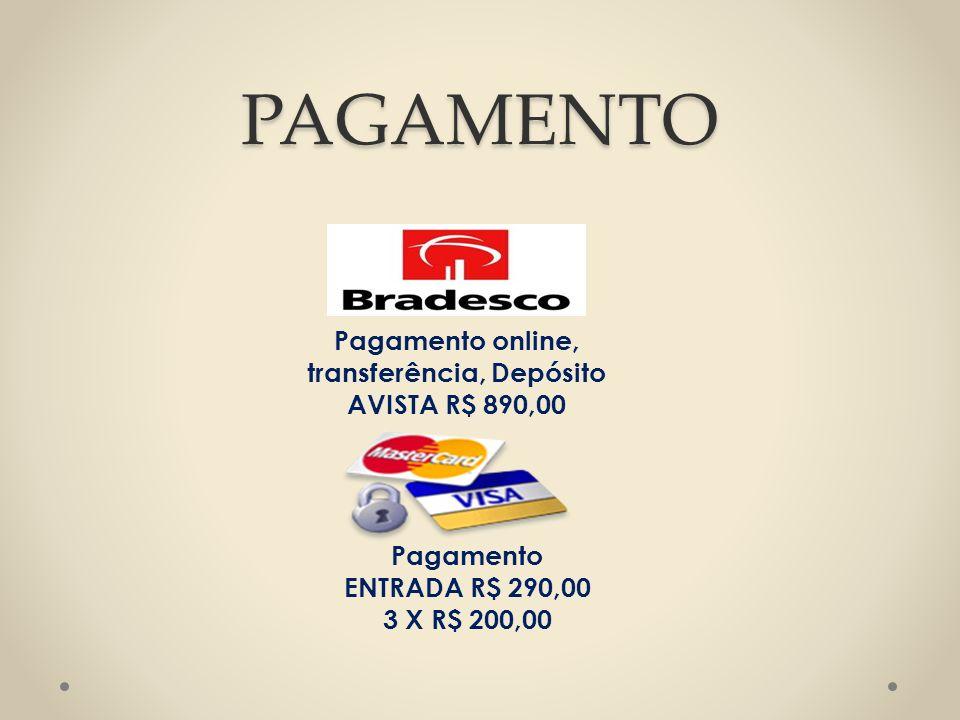 Pagamento online, transferência, Depósito