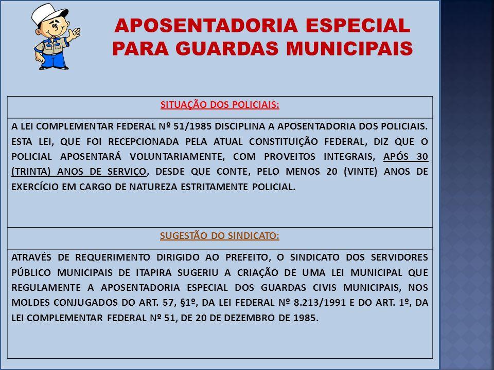 SITUAÇÃO DOS POLICIAIS: SUGESTÃO DO SINDICATO: