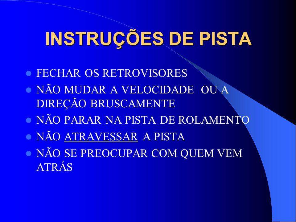 INSTRUÇÕES DE PISTA FECHAR OS RETROVISORES