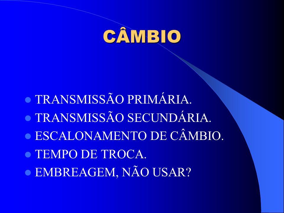 CÂMBIO TRANSMISSÃO PRIMÁRIA. TRANSMISSÃO SECUNDÁRIA.