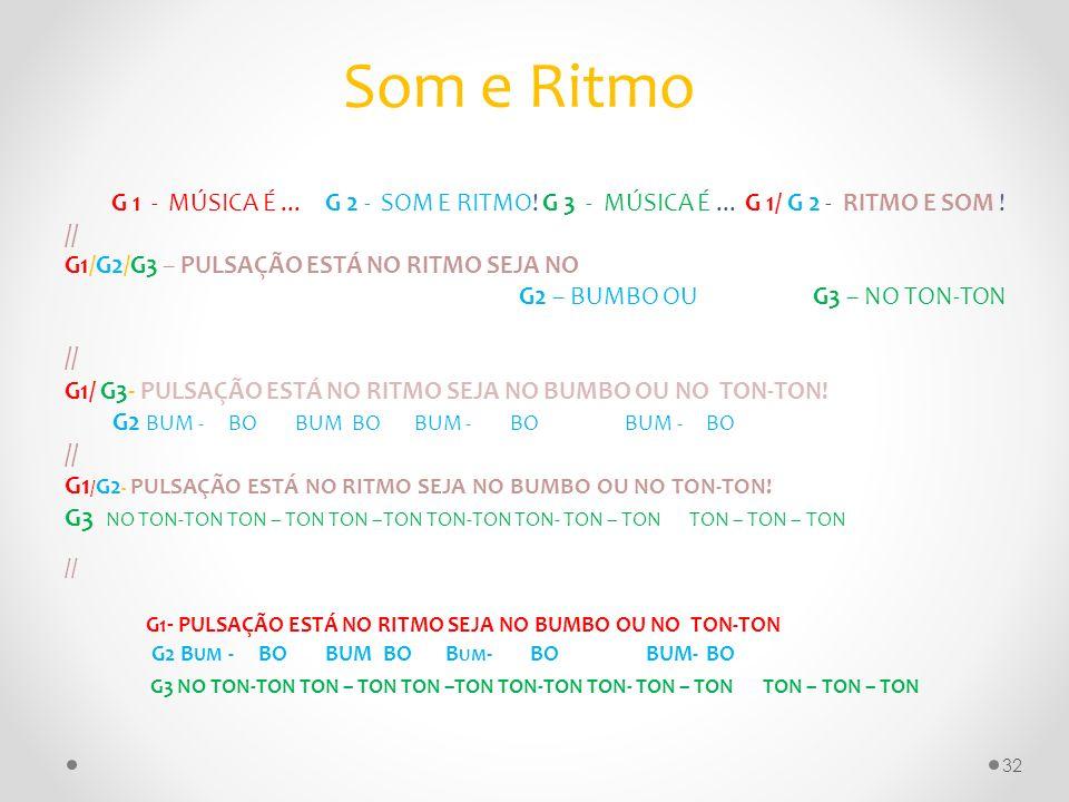 Som e RitmoG 1 - MÚSICA É ... G 2 - SOM E RITMO! G 3 - MÚSICA É ... G 1/ G 2 - RITMO E SOM !
