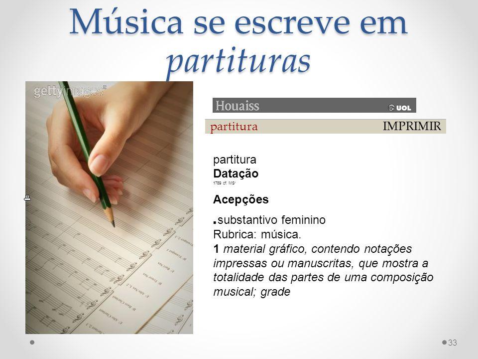 Música se escreve em partituras