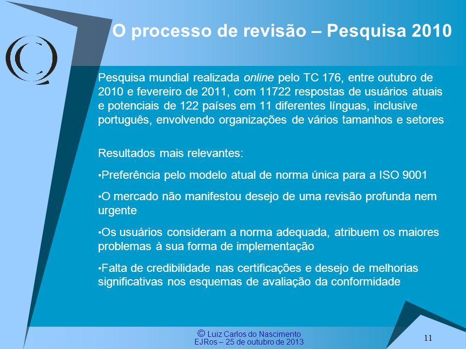 O processo de revisão – Pesquisa 2010