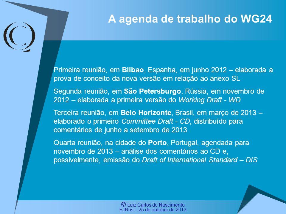 A agenda de trabalho do WG24
