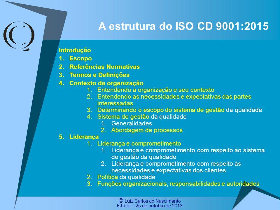 A estrutura do ISO CD 9001:2015 Introdução Escopo