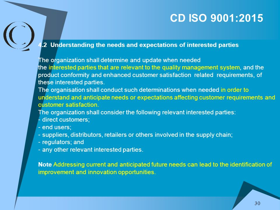 CD ISO 9001:2015 4.2 Understanding the needs and expectations of interested parties. The organization shall determine and update when needed.