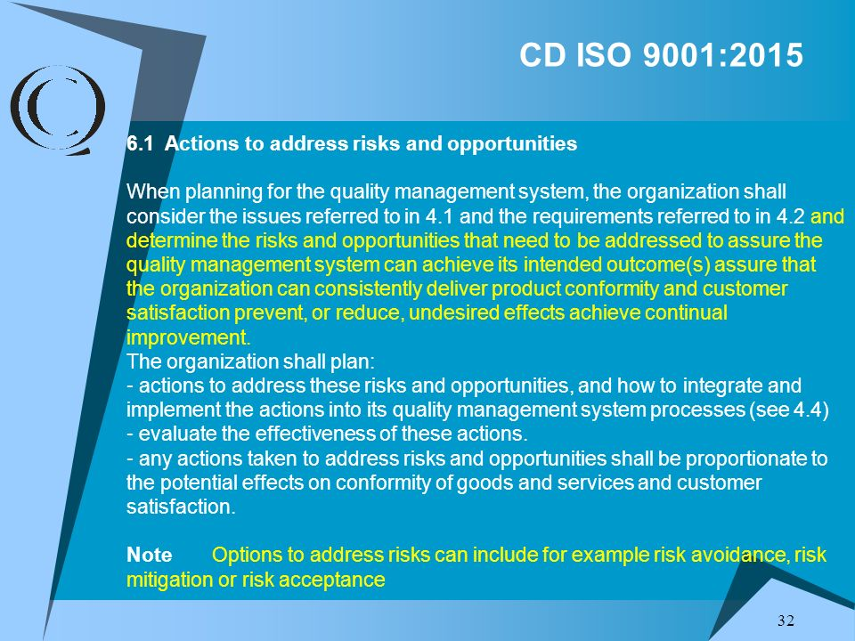 CD ISO 9001:2015 6.1 Actions to address risks and opportunities