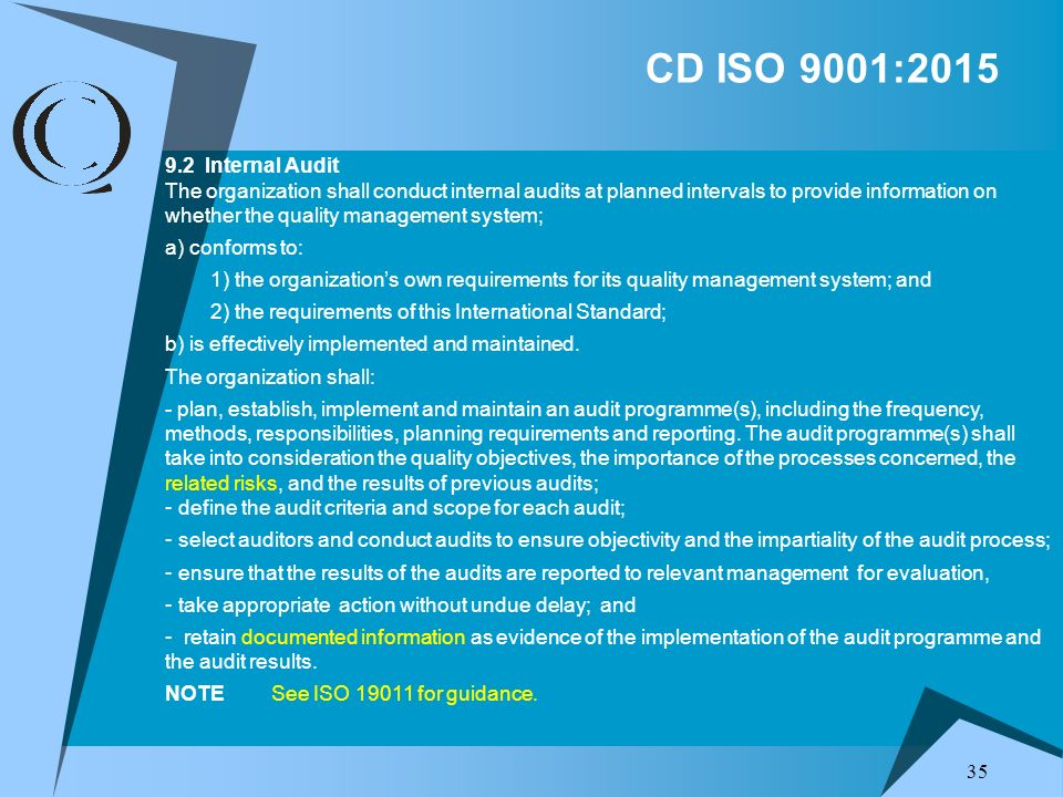 CD ISO 9001:2015 9.2 Internal Audit.
