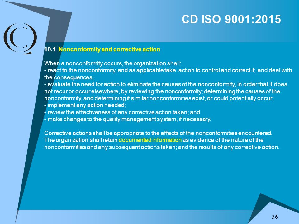 CD ISO 9001:2015 10.1 Nonconformity and corrective action