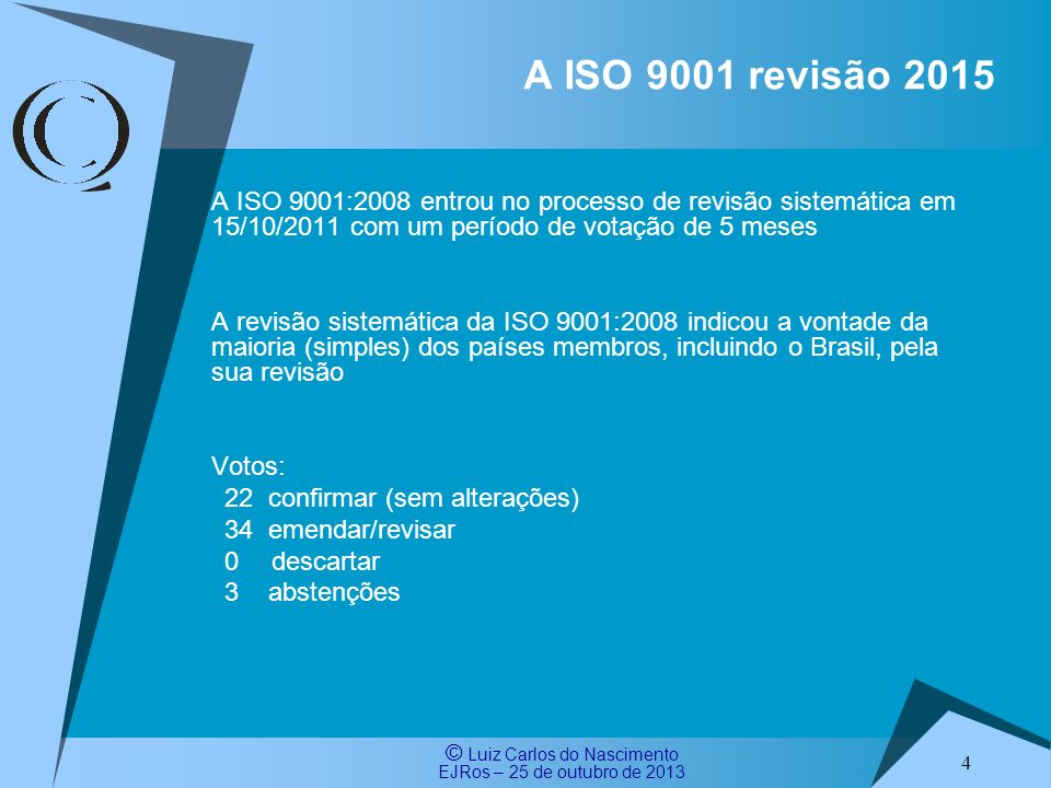 A ISO 9001 revisão 2015A ISO 9001:2008 entrou no processo de revisão sistemática em 15/10/2011 com um período de votação de 5 meses.