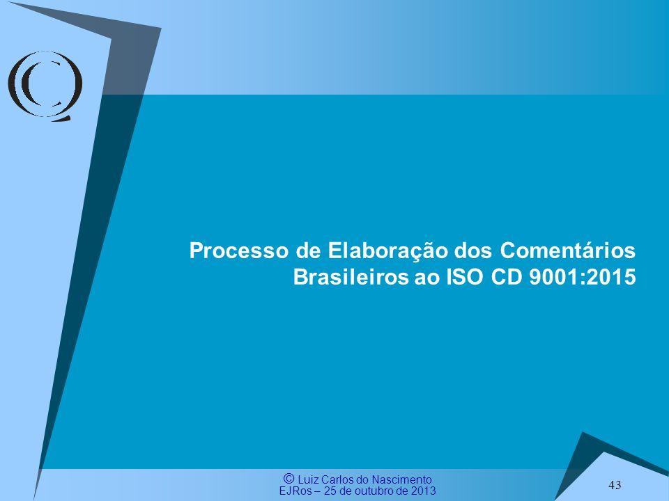 Processo de Elaboração dos Comentários Brasileiros ao ISO CD 9001:2015