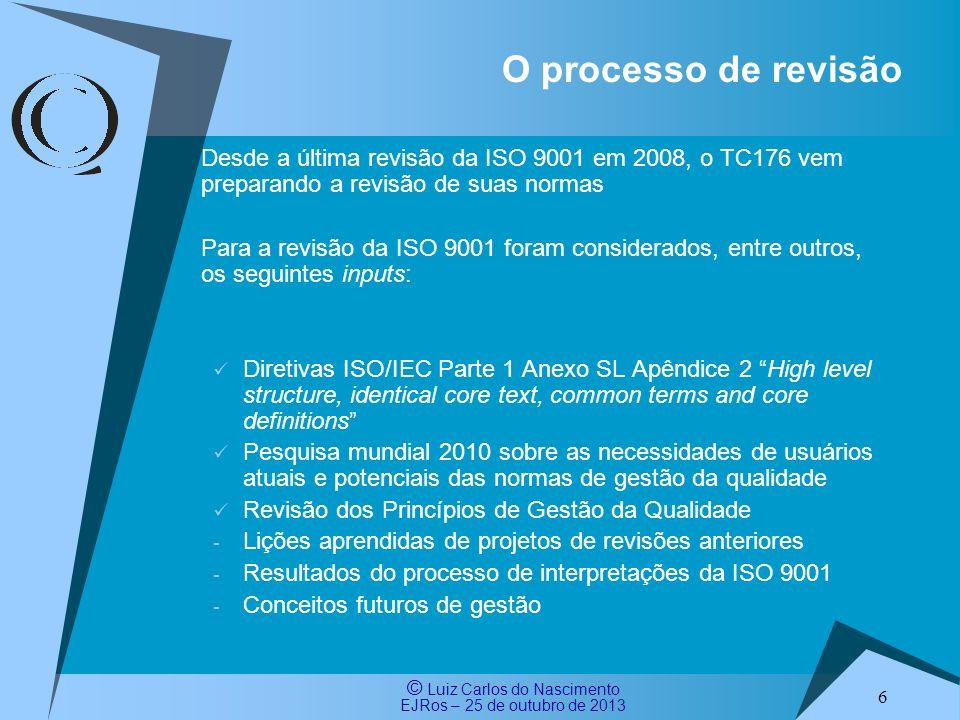 O processo de revisão Desde a última revisão da ISO 9001 em 2008, o TC176 vem preparando a revisão de suas normas.