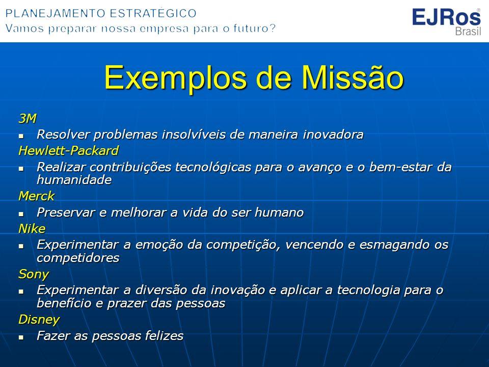 Exemplos de Missão 3M. Resolver problemas insolvíveis de maneira inovadora. Hewlett-Packard.