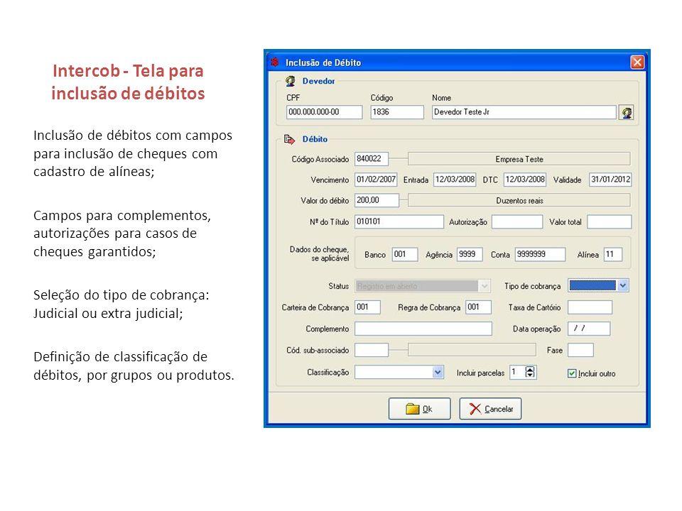 Intercob - Tela para inclusão de débitos