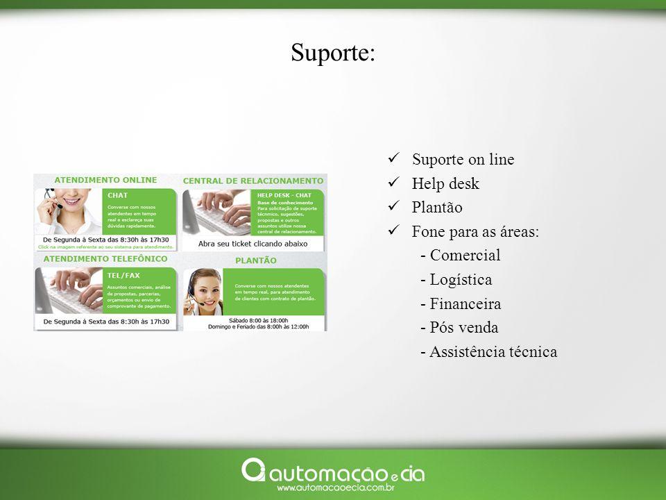 Suporte: Suporte on line Help desk Plantão Fone para as áreas: