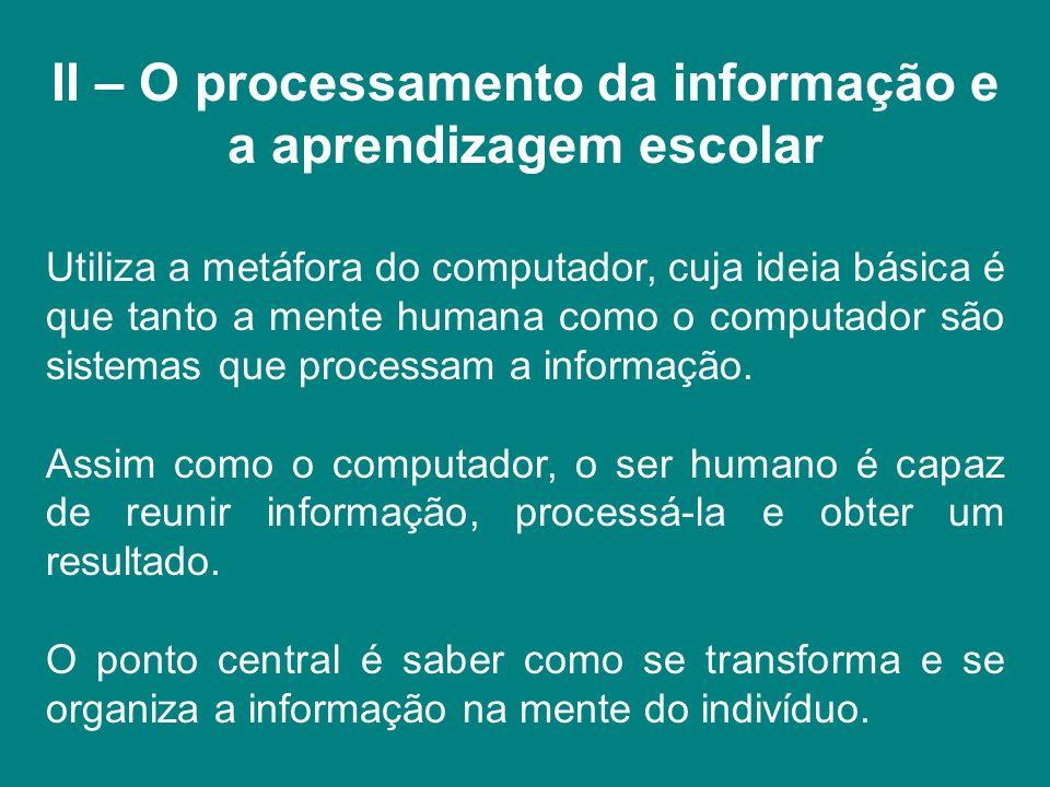 II – O processamento da informação e a aprendizagem escolar