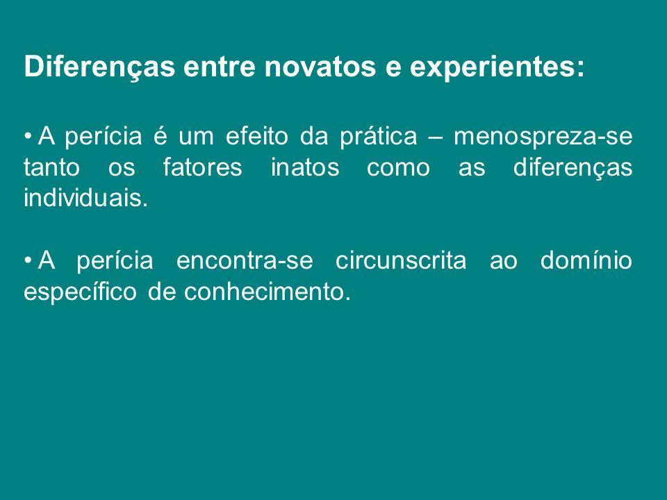 Diferenças entre novatos e experientes:
