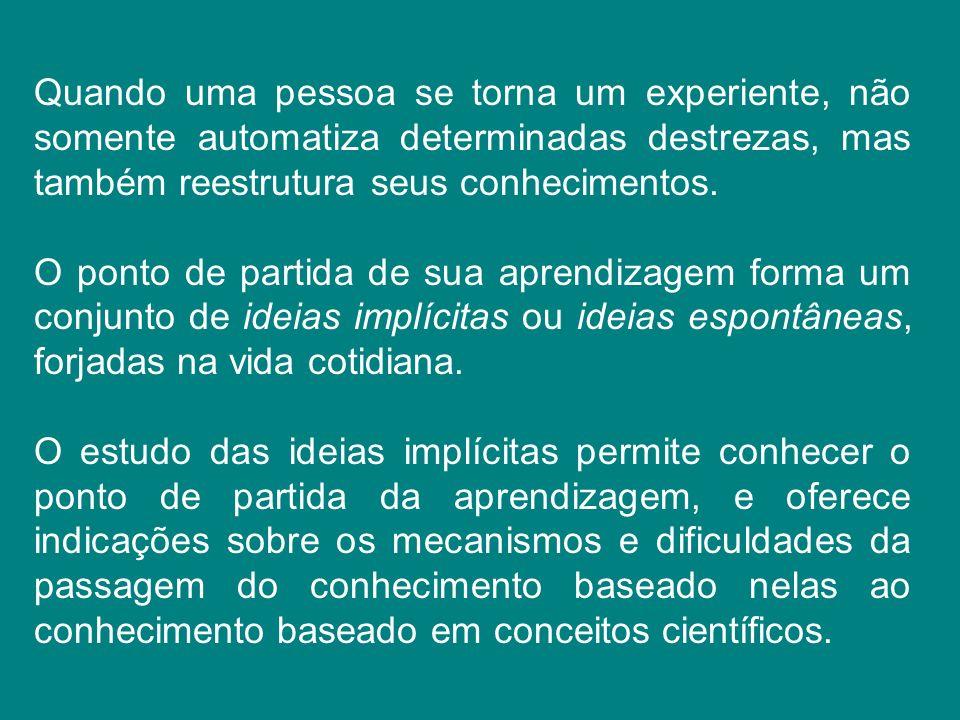 Quando uma pessoa se torna um experiente, não somente automatiza determinadas destrezas, mas também reestrutura seus conhecimentos.