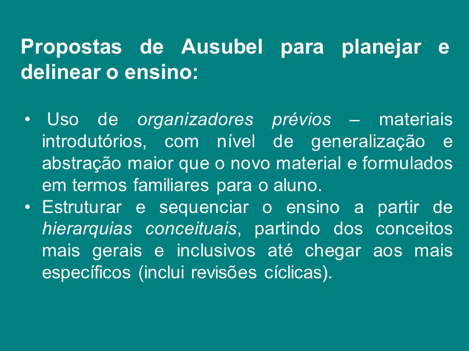 Propostas de Ausubel para planejar e delinear o ensino: