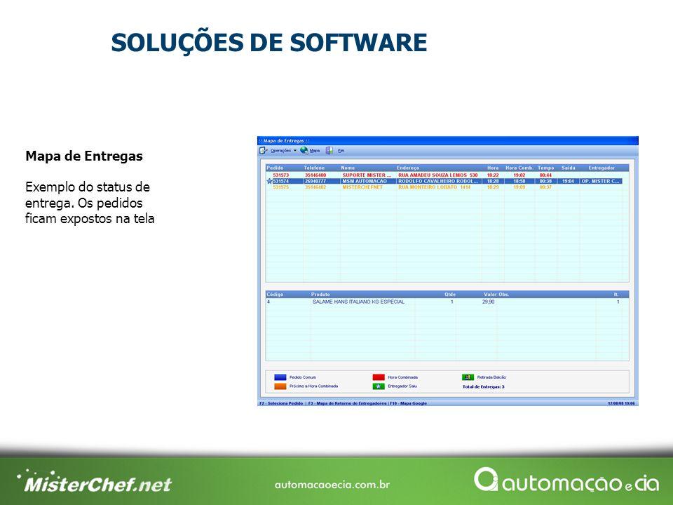 SOLUÇÕES DE SOFTWARE Mapa de Entregas Exemplo do status de entrega.