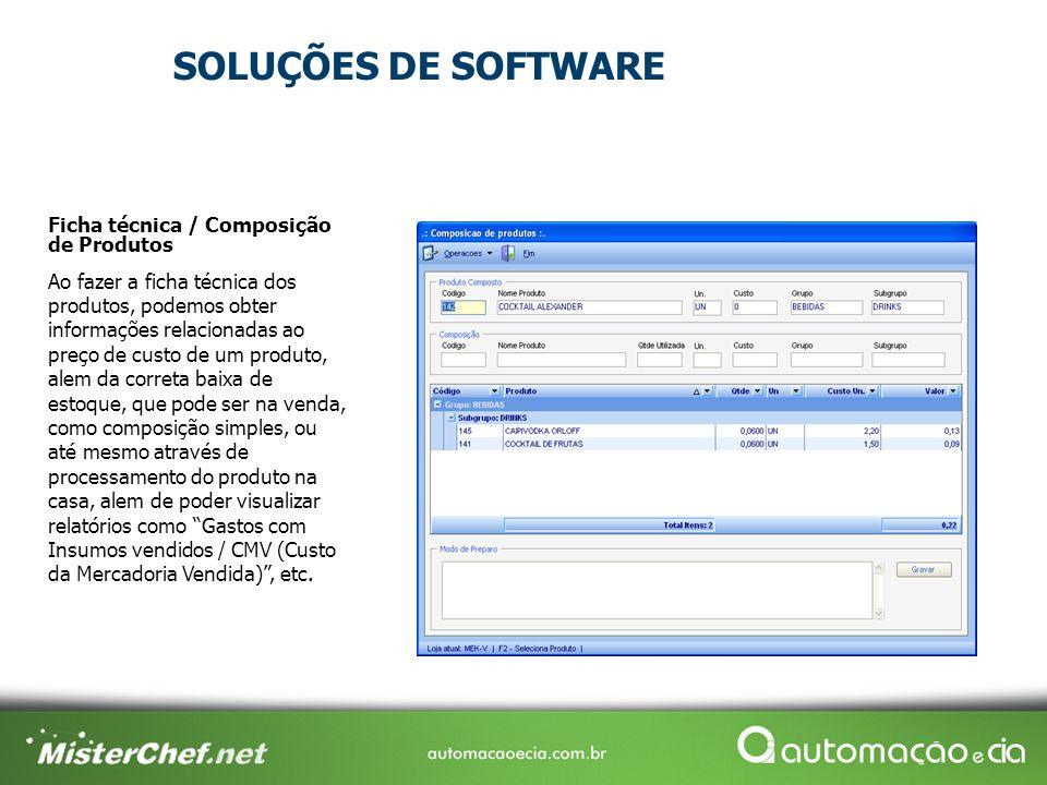 SOLUÇÕES DE SOFTWARE Ficha técnica / Composição de Produtos