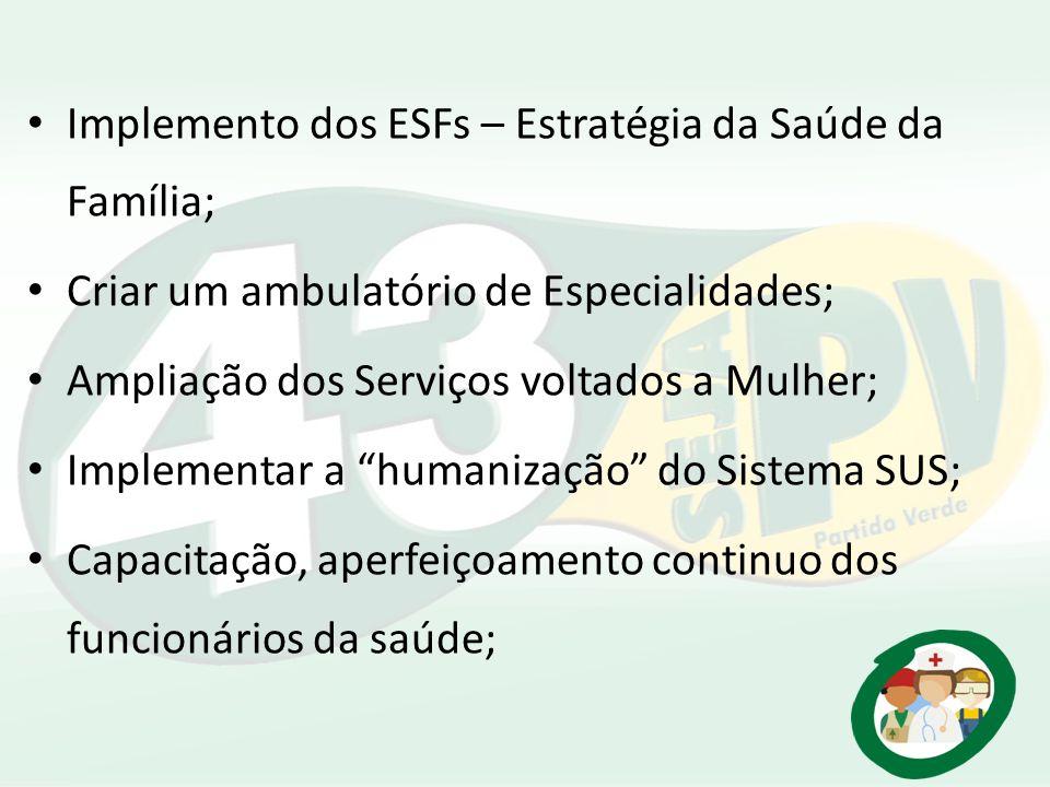 Implemento dos ESFs – Estratégia da Saúde da Família;