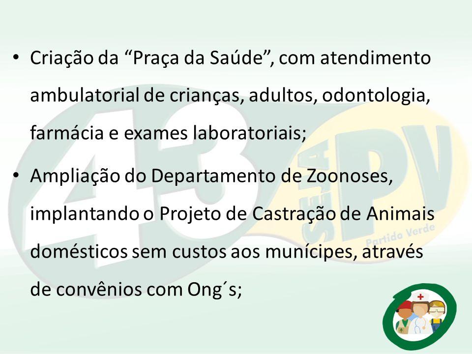 Criação da Praça da Saúde , com atendimento ambulatorial de crianças, adultos, odontologia, farmácia e exames laboratoriais;