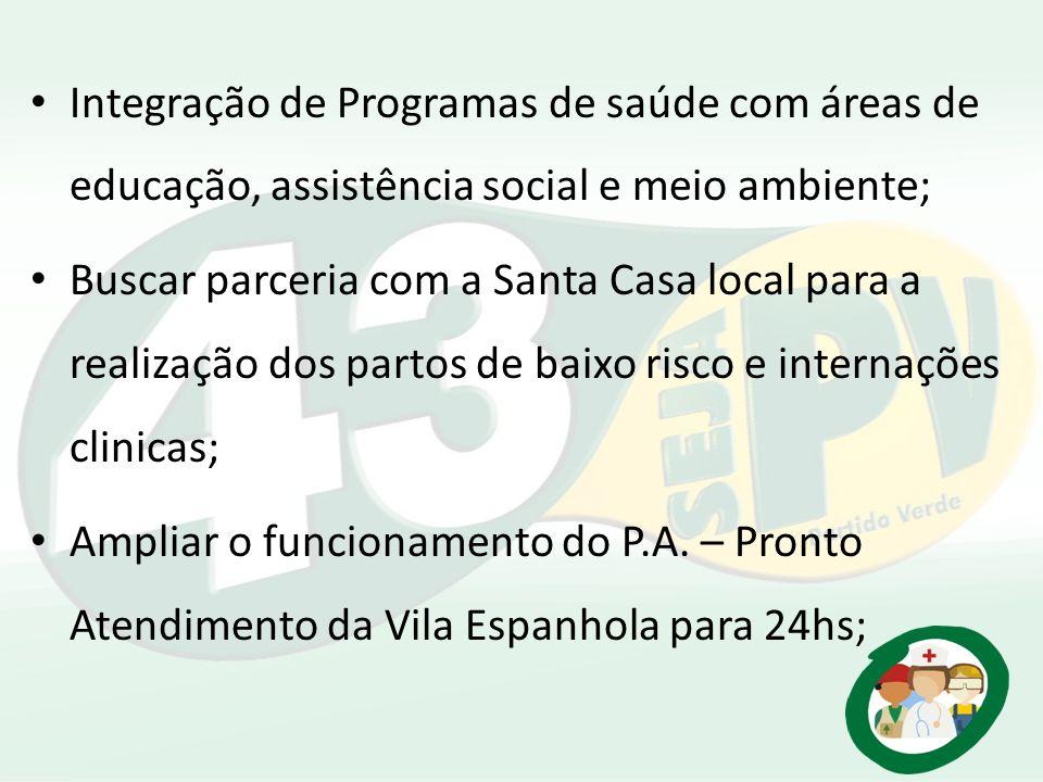 Integração de Programas de saúde com áreas de educação, assistência social e meio ambiente;