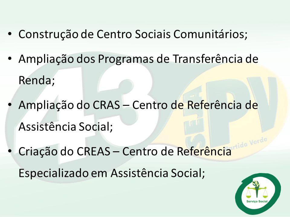 Construção de Centro Sociais Comunitários;