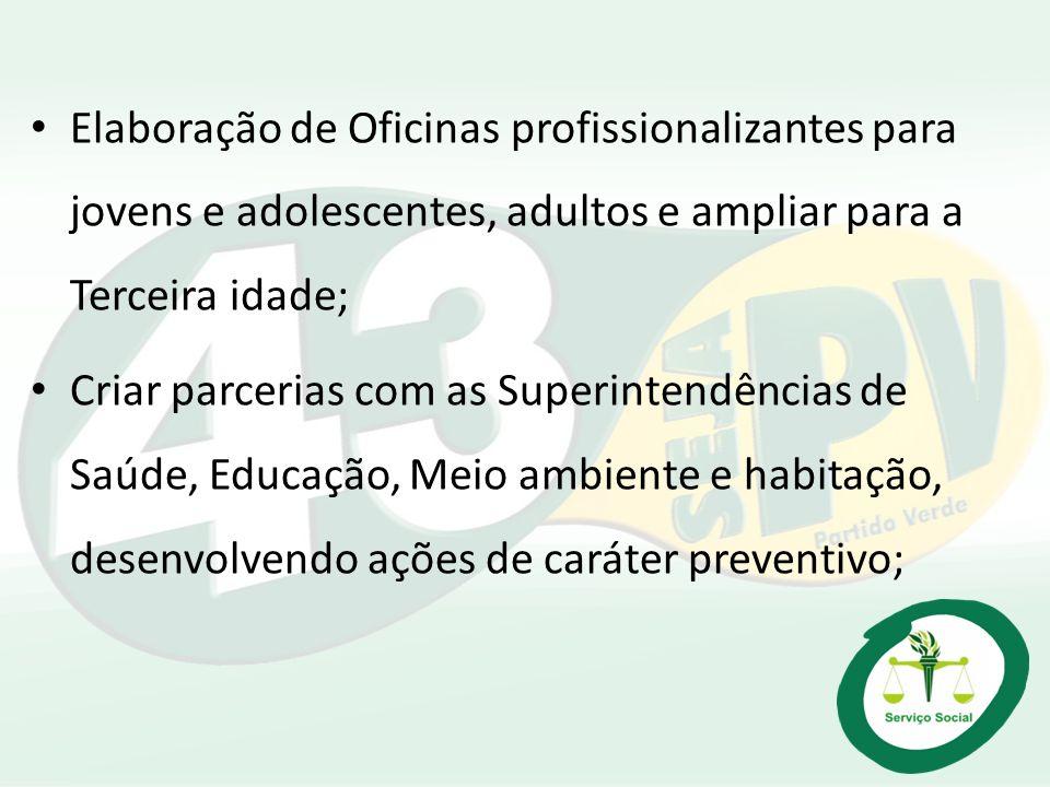 Elaboração de Oficinas profissionalizantes para jovens e adolescentes, adultos e ampliar para a Terceira idade;